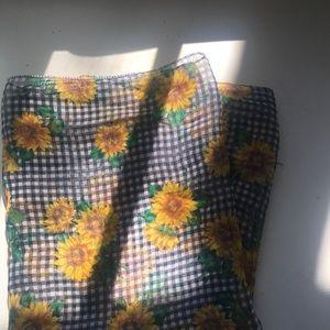 Sunflower Gingham Silk Scarf